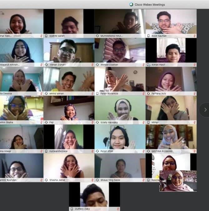 Our university student-leaders on the Webex platform as mentors during one of The Kalsom Movement's programmes this year.